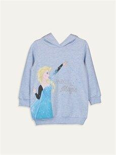 Mavi Kız Çocuk Elsa Baskılı Kapüşonlu Sweatshirt 9WM470Z4 LC Waikiki