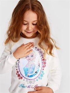 %85 Pamuk %15 Polyester Kız Çocuk Çift Yönlü Payetli Frozen Sweatshirt