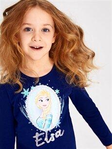 Kız Çocuk Kız Çocuk Elsa Baskılı Pamuklu Tişört