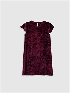 %91 Polyester %9 Elastan Diz Üstü Düz Kız Çocuk Kısa Kollu Kadife Elbise