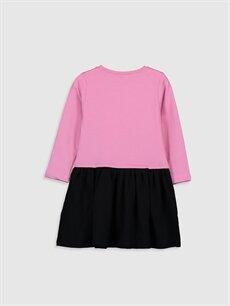 %70 Pamuk %30 Polyester Diz Üstü Desenli Kız Çocuk Barbie Baskılı Elbise