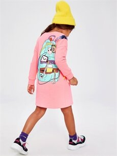 %18 Pamuk %82 Polyester Kız Çocuk Sweatshirt Elbise