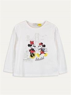 Ekru Kız Çocuk Minnie Mickey Mouse Pamuklu Tişört 9WM815Z4 LC Waikiki