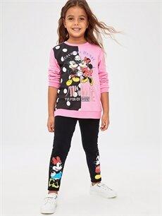 Kız Çocuk Kız Çocuk Minnie Mickey Mouse Pamuklu Tayt