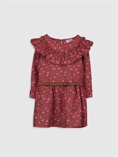 Kahverengi Kız Çocuk Desenli Flanel Elbise ve Kemer 9WM965Z4 LC Waikiki