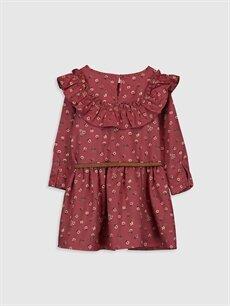 %100 Pamuk %100 Poliüretan Diz Üstü Desenli Kız Çocuk Desenli Flanel Elbise ve Kemer