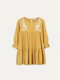 Sarı Kız Çocuk Nakışlı Viskon Elbise 9WN177Z4 LC Waikiki