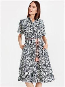 Siyah Çiçek Desenli Kemerli Pamuklu Elbise 9WN244Z4 LC Waikiki