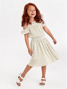 Kız Çocuk Kız Çocuk Omuzu Açık Elbise