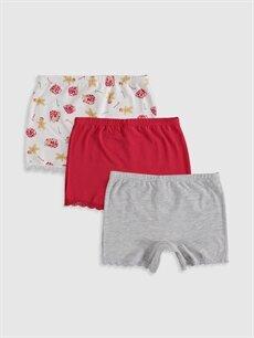 %95 Pamuk %5 Elastan Standart İç Giyim Alt Kız Çocuk Pamuklu Boxer 3'lü