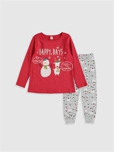 Kırmızı Kız Çocuk Baskılı Pamuklu Pijama Takımı 9WN626Z4 LC Waikiki