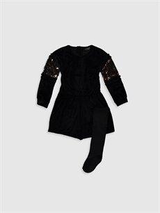 Siyah Kız Çocuk Pul İşlemeli Kadife Tulum ve Külotlu Çorap 9WN703Z4 LC Waikiki