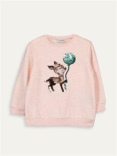 %43 Pamuk %57 Polyester  Kız Çocuk Çift Yönlü Payetli Sweatshirt