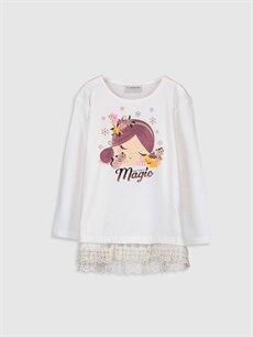 Ekru Kız Çocuk Baskılı Pamuklu Tişört 9WO951Z4 LC Waikiki