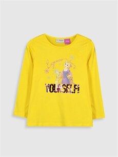 %100 Pamuk Standart Baskılı Uzun Kol Tişört Bisiklet Yaka Kız Çocuk Rapunzel Baskılı Pamuklu Tişört