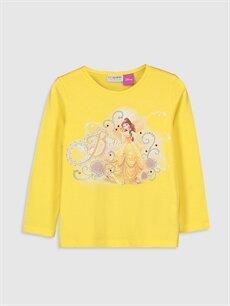 Sarı Kız Çocuk Bella Baskılı Pamuklu Tişört 9WP423Z4 LC Waikiki