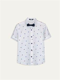 Beyaz Erkek Çocuk Desenli Pamuklu Gömlek ve Papyon 9WP696Z4 LC Waikiki