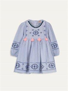 Mavi Kız Bebek Çizgili Poplin Elbise 9WQ146Z4 LC Waikiki