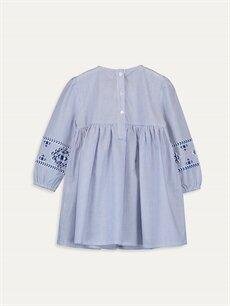 %100 Pamuk Çizgili Kız Bebek Çizgili Poplin Elbise