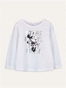 Beyaz Kız Bebek Minnie Mouse Pamuklu Tişört 9WQ233Z4 LC Waikiki