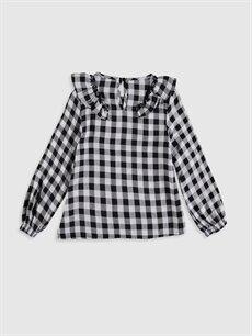 %19 Poliester %81 Vıscose Standart Ekoseli Uzun Kol Bluz Kız Çocuk Fırfırlı Ekose Bluz