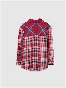 %1 Polyester %98 Viskoz %1 Metalik iplik  Kız Çocuk Ekose Viskon Gömlek