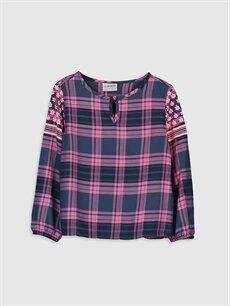 Lacivert Kız Çocuk Viskon Ekose Bluz 9WQ729Z4 LC Waikiki