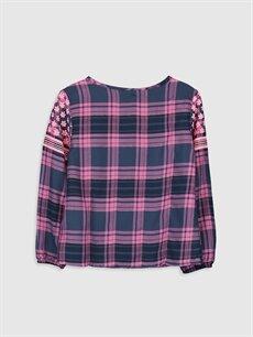 %1 Poliamid %1 Metalik iplik %98 Viskoz Standart Ekoseli Uzun Kol Bluz Kız Çocuk Viskon Ekose Bluz