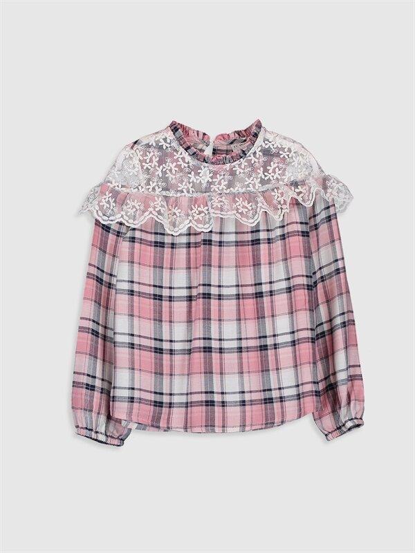 Kız Çocuk Dantel Detaylı Ekose Bluz - LC WAIKIKI