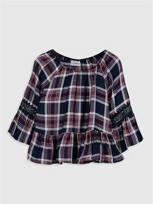 Kız Çocuk Ekose Viskon Bluz - LC WAIKIKI