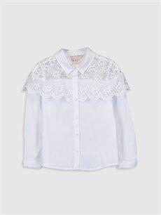 Beyaz Kız Çocuk Dantelli Poplin Gömlek 9WQ733Z4 LC Waikiki