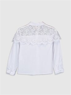 %67 Pamuk %29 Polyester %4 Elastan  Kız Çocuk Dantelli Poplin Gömlek