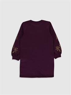 %83 Pamuk %17 Polyester Diz Üstü Desenli Kız Çocuk Jasmine Baskılı Sweatshirt Elbise