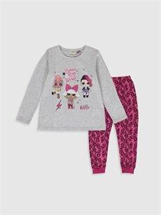 Gri Kız Çocuk Lol Bebek Baskılı Pijama Takımı 9WR137Z4 LC Waikiki