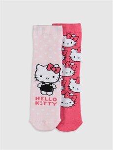 Pembe Kız Çocuk Hello Kity Havlu Soket Çorap 2'li 9WR322Z4 LC Waikiki