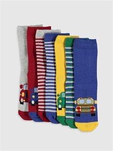 Çok Renkli Erkek Çocuk Desenli Soket Çorap 7'li 9WR392Z4 LC Waikiki
