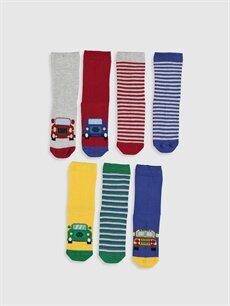 %74 Pamuk %24 Poliamid %2 Elastan  Erkek Çocuk Desenli Soket Çorap 7'li