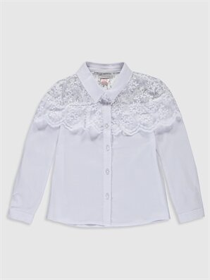 Kız Çocuk Dantel Detaylı Poplin Gömlek - LC WAIKIKI
