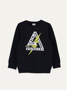 Siyah Erkek Çocuk Baskılı Sweatshirt 9WR413Z4 LC Waikiki