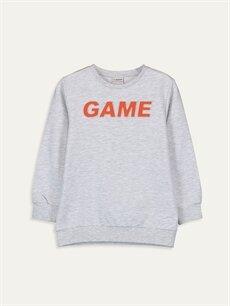 Gri Erkek Çocuk Yazı Baskılı Sweatshirt 9WR422Z4 LC Waikiki