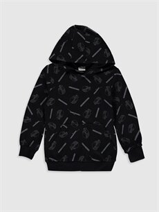 Siyah Erkek Çocuk Baskılı Kapüşonlu Sweatshirt 9WR526Z4 LC Waikiki
