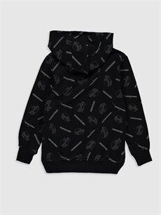 %83 Pamuk %17 Polyester  Erkek Çocuk Baskılı Kapüşonlu Sweatshirt