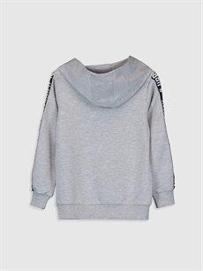 %59 Pamuk %41 Polyester  Erkek Çocuk Yazı Baskılı Kapüşonlu Sweatshirt