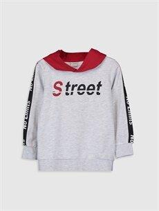 Erkek Çocuk Erkek Çocuk Yazı Baskılı Kapüşonlu Sweatshirt