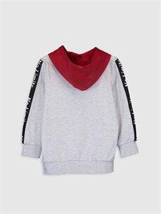 %60 Pamuk %40 Polyester Erkek Çocuk Yazı Baskılı Kapüşonlu Sweatshirt