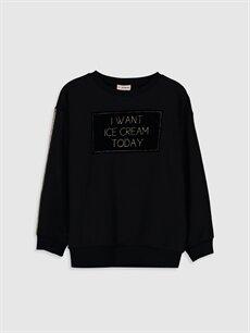 Siyah Kız Çocuk Yazı Baskılı Sweatshirt 9WS685Z4 LC Waikiki