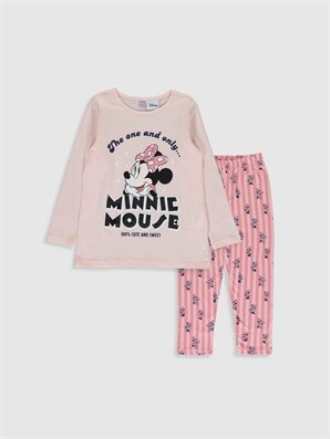 Kız Çocuk Minnie Mouse Baskılı Pamuklu Pijama Takımı - LC WAIKIKI