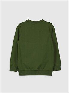 %100 Pamuk  Erkek Çocuk Dinazor Aplikeli Baskılı Sweatshirt