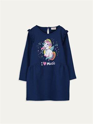 Kız Çocuk Unicorn Baskılı Fırfırlı Elbise - LC WAIKIKI