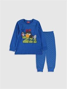 Mavi Erkek Çocuk Zeytin Baskılı Pamuklu Pijama Takımı 9WT307Z4 LC Waikiki